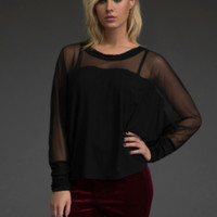 Mesh Shoulders Dolman Top