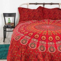 Red mandala quilt cover bohemian duvet cover with 2 pillows - Luna