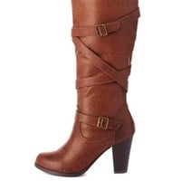 Belt-Wrapped Knee-High Chunky Heel Boots by Charlotte Russe - Brown