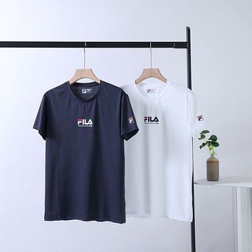 """""""FILA"""" Men Training Sport Breathable Hollow Logo Round Neck Short Sleeve Quick-drying T-shirt Top Tee"""