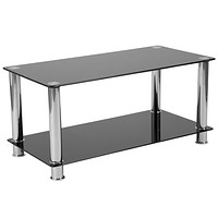 Riverside Collection Coffee Table with Shelves and Metal Frame