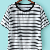 White Short Sleeve Striped Shirt
