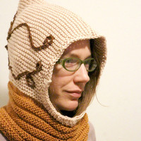 Earth tones, cotton hoodie, with crochet star embellishment, hand knit cowl, snood scarf, cowl hoodie, hood hat, knit snood