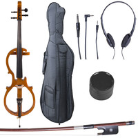 Cecilio CECO-5NA Yellow Maple 4/4 (Full Size) Electric Silent Solid Maple Cello in Style 5 +Soft Case, Bow & Accessories : K K Music Store: Musical Instruments - Violin, Viola, Cello, Saxophone, Trumpet, Trombone, Guitar, Flute, Piccolo, Clarinet & more