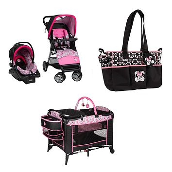 Disney Minnie Meadows Baby Gear Bundle Stroller Travel System Play Yard Collection Set