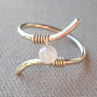Rainbow Moonstone Wrapped Hammered Silver Wire Twisted Ring