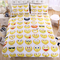 Hot Sale Emoji Bedding Set Interesting and Fashion Duvet Cover for Young People New Year Bed Sheets 3Pcs Twin Full Queen Size