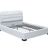 Bianca Modern Bed with Tufted Headboard Queen Size, White