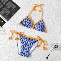 Blue DIOR Summer Beach Hot Swimsuit Swimwear Bikini Set
