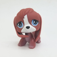 1pc LPS cute toys Lovely Pet shop animal Brown BEAGLE Dog blue eyes action figure littlest doll