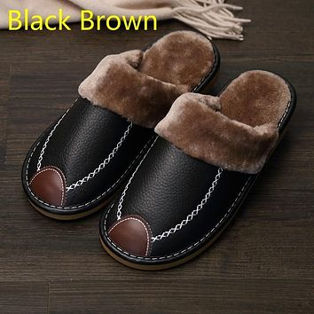 Men Slippers Black New Winter PU Leather Slippers Warm Indoor Slipper Waterproof Home House Shoes Women Warm Leather Slippers