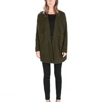 Open Front Long Sleeve Cable Knit Coat