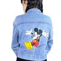 vintage 90s Disney Jean Jacket Emroidered Mickey Mouse Denim Jacket Coat Grunge Cotton Peave Love Cropped Jacket Light Wash Medium