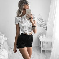 Hollow Out Lace Crop Top B005330