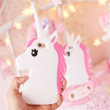 Hot New Fantastic Cartoon Unicorn Horse Soft Silicone Phone Cases Cover For iPhone 7 7Plus 4 4G 4S 5 5G 5S SE 5C 6 6G 6S 6Plus
