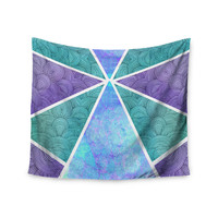 """Pom Graphic Design """"Reflective Pyramids"""" Teal Purple Wall Tapestry"""