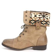 Sharper-1 Taupe Two Way Combat Boots | MakeMeChic.com