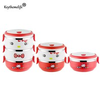 Keythemelife Multilayer Lunch Boxs Hello kitty Food Container Thermal Bento PP+Stainless Steel Lunchbox for Kids Students DA