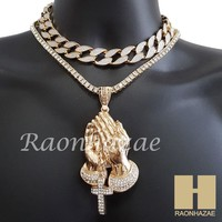 "Hip Hop Iced Out Praying Hands Pendant 16"" Iced Out Choker 18"" Tennis Chain 12"