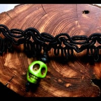 Handmade Stone Skull Lime Green Sugar Skulls Hand Black Lace Choker Day of the Dead Jewelry Necklace with Black Wood Beads Custom Length