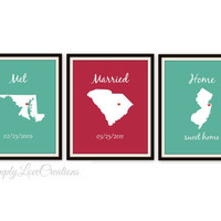 State Love Print - Met Married Home Print // Custom Date Print // Personalized Wedding Gift // Bridal Shower Gift // Housewarming Gift
