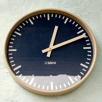 Big industrial wall clock by Iskra / 80's /  relay clock /from school or factory