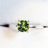 Peridot Solitaire Ring - Sterling Silver