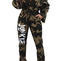 Junkie Sexy V Neck Long Pants Camo Jumpsuit