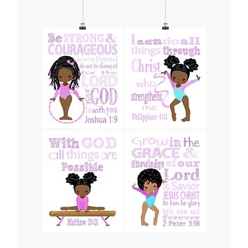 African American Gymnast Christian Nursery Decor Set of 4 Prints with Bible Verses in Purple