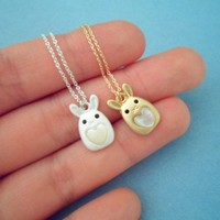 Cute Heart Pearl Bunny Necklace