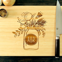Personalized Wedding Gift, Cutting Board, Anniversary Gift, Mason Jar Design, Initials, Bridal Shower Gift, Chef Gift, Christmas Gift