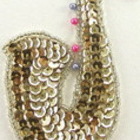 """Saxaphone with Gold Sequins 3.5"""" x 2"""""""