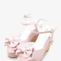 Sweety Bow-Knot Platform Wedge In Pink
