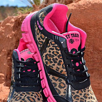 womens shoes - Pink cheetah tennis shoes