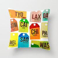 Travel Tags Throw Pillow by The Pairabirds   Society6