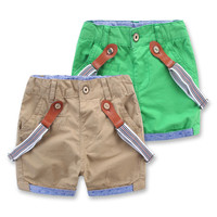 2016 New Arrival Solid Baby Boys Shorts Summer Children Clothing Kids Boys Cotton Suspenders Shorts 3 Color For Age 1-5 Years