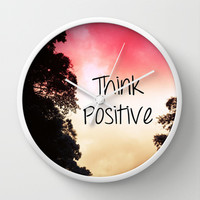 Think Positive Wall Clock by Louise Machado
