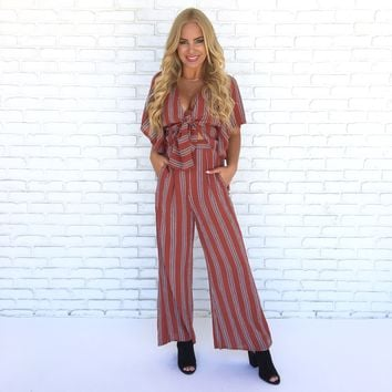 St Barts Tie Front Jumpsuit in Rust