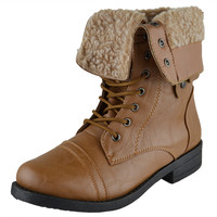 Womens Mid Calf Boots Fold Over Cuff Fur Lined Lace Up Combat Shoes Tan SZ
