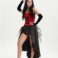 free shipping Burlesque Showgirl Can Can Flapper Fancy Dress Costume + Hat Plus Size 3XL