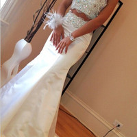 Beautiful Long White Prom Dresses 2016 Mermaid Two Piece Beading Rhinestone Fitted Dance Prom Gown US Size Customized