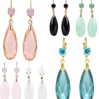 Fascinating Long Teardrop Bead and CZ Dangle Earrings ~ Six Colors to Choose!