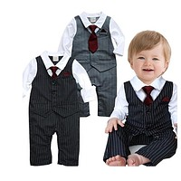 Baby Boy Pin Striped Formal Onesuit with Tie, Sizes 3 - 24 Months