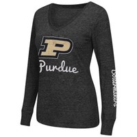 Purdue Boilermakers Women's Edge II Long Sleeve V-Neck T-Shirt – Black