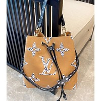 LV Louis Vuitton Fashion New Monogram Leather Shopping Leisure Shoulder Bag Women Bucket Bag  Brown