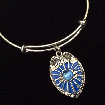 Police Badge Blue Crystal Expandable Charm Bracelet Adjustable Wire Bangle Gift Trendy Fun Unique Gift