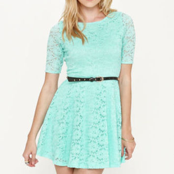 Kirra Belted 3/4 Sleeve Lace Dress at PacSun.com