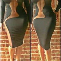 Gray Long Sleeve Bodycon Midi Dress with Mesh Accent