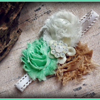 M2M WDW, well dressed wolf, mint  magnolia, mint green shabby headband, baby girl, toddler, Easter, photo prop, boutique headband bow
