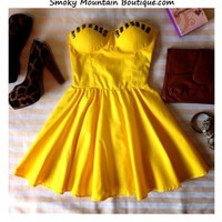Sexy Yellow Bustier Dress with Studs and with Adjustable Straps - Size XS/S/M - Smoky Mountain Boutique
